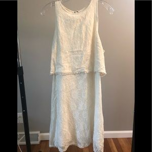 White Lace Tiered Shift Dress from Abercrombie